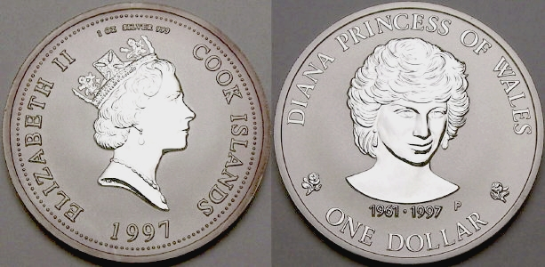Picture Of A 1 Ounce Silver Cook Islands Princess Diana